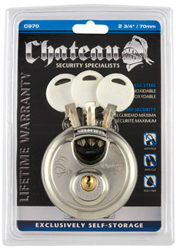 70 mm Disk Lock, 3 Keys