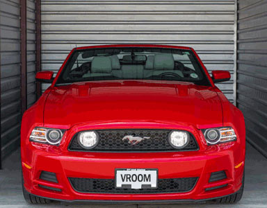 red Mustang in storage space Santa Barbara Self Storage