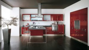 High Gloss red acrylic all cabinets